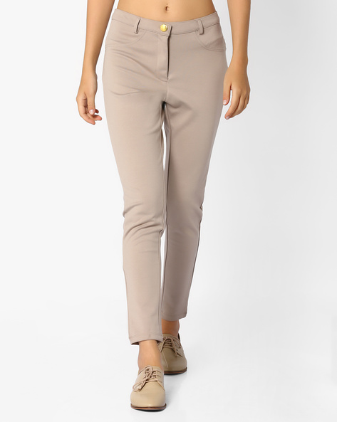 Flat-Front Ankle-Length Trousers By AJIO ( Beige )