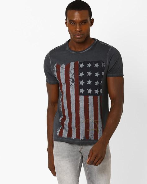 Vintage-Washed Graphic Print Slim T-shirt By AJIO ( Darkgrey )