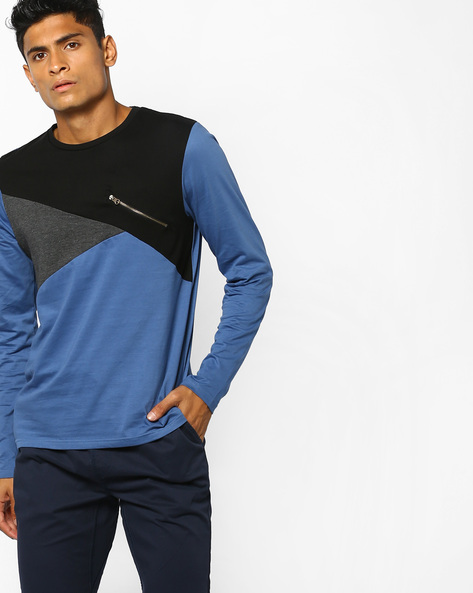 Colourblock Slim T-shirt With Mock Zipper By AJIO ( Teal )