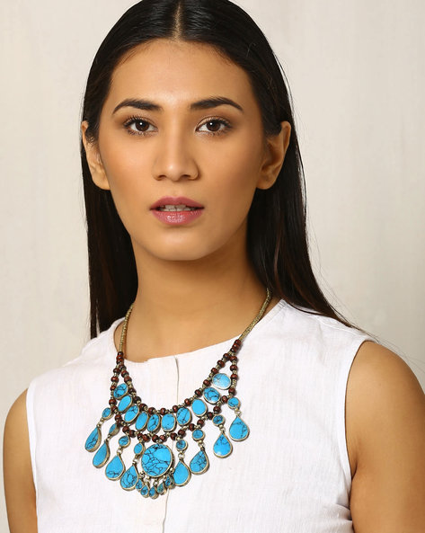 Beaded Afghan Necklace By Indie Picks ( Green )