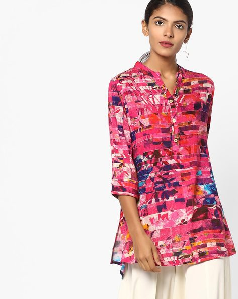 Printed Tunic With Button Placket By SOCH ( Pink )