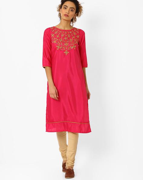 Straight Kurta With Embroidery By AURELIA ( Pink )