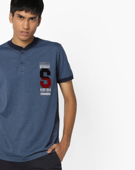 Striped T-shirt With Contrast Collar By DUKE ( Navy )