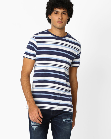 Striped Crew-Neck T-shirt By Celio ( Indigo )