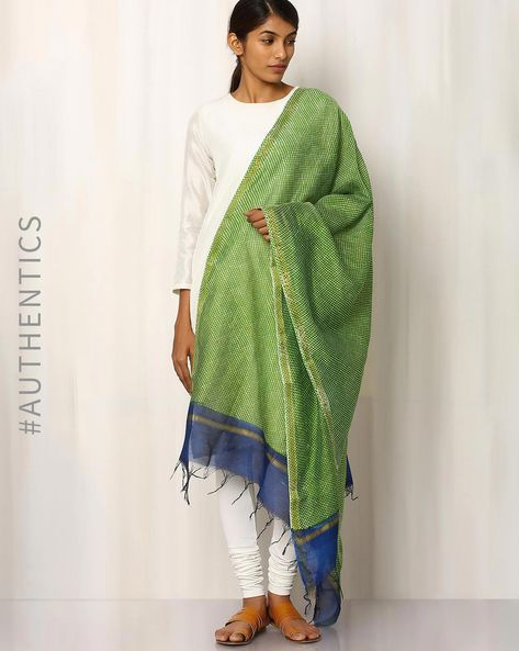 Hand Block Print Chanderi Dupatta By Indie Picks ( Lightgreen )