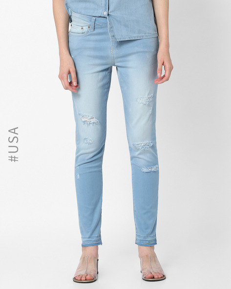 Skinny Fit Distressed Jeans By Aeropostale ( Blue )