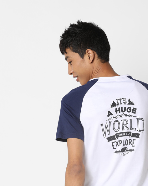 Crew-Neck T-shirt With Contrast Sleeves By AJIO ( White )
