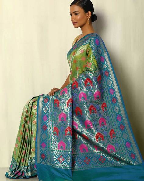 Patola Style Brocade South Silk Saree By Pretty Woman ( Green )
