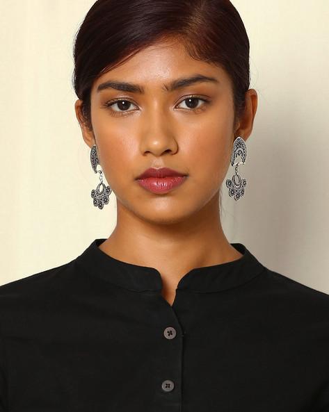 Statement Oxidised Drop-Earrings By Indie Picks ( Silver ) - 460046688001