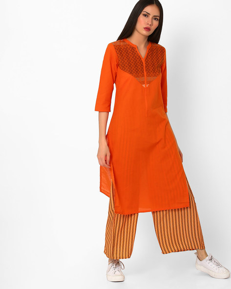 Cotton Straight Kurta With Contrast Yoke By AURELIA ( Orange )