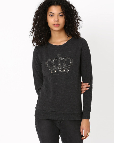 Embellished Sweatshirt By SF Jeans By Pantaloons ( Charcoal )