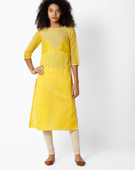 Straight Kurta With Embroidery By Biba ( Yellow )