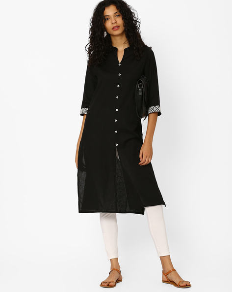 Linen Kurta With Open Collar By Avaasa Ariah ( Black )