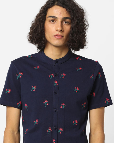 Floral Print Shirt With Band Collar By AJIO ( Blue )