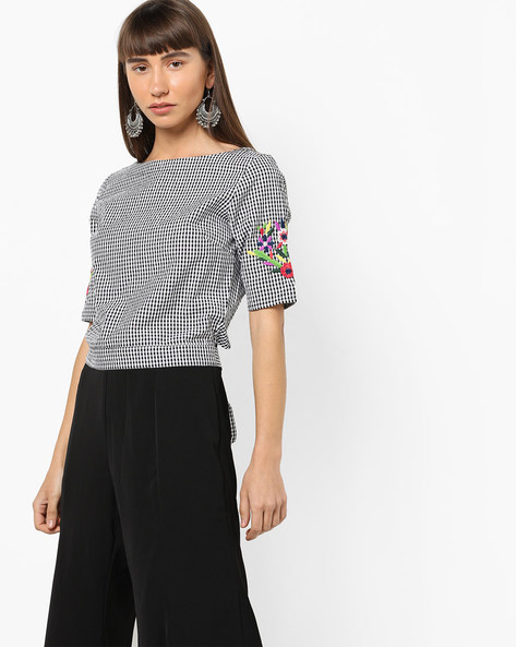 Gingham Check Envelope Top With Embroidery By AJIO ( Black )