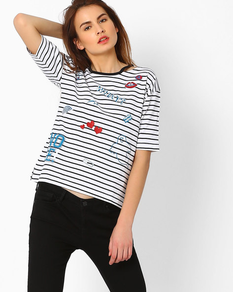 Striped T-shirt with Drop Shoulder Sleeeves