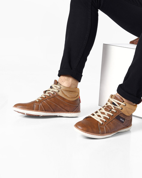 Mid-Top Panelled Casual Shoes By ESCARO ( Brown )