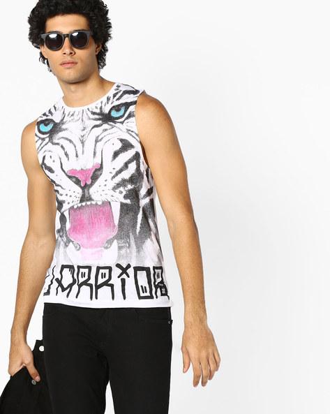 Graphic Print Fashion Vest By KULTPRIT ( White )