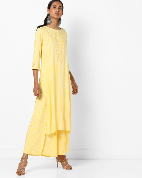 Printed Straight Kurta With Embroidery By AJIO ( Yellow )