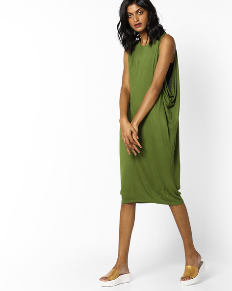 Sleeveless Sheath Dress With Drop Armholes By AJIO ( Olive )