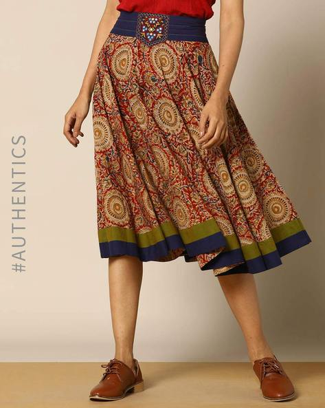 Hand-Block Print Kalamkari Cotton Pleated Short Skirt By Indie Picks ( Pink )