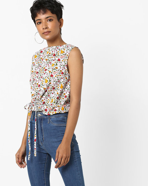 Floral Print Sleeveless Top By AJIO ( Offwhite )
