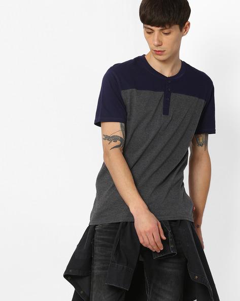 Cut & Sew Henley T-shirt By LEVIS ( Grey )