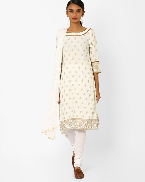 Printed Churidar Kurta With Dupatta By AVAASA SET ( Offwhite )