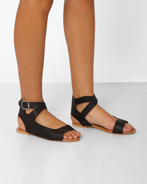 Peep-Toe Flats With Ankle Strap By Curiozz ( Black )
