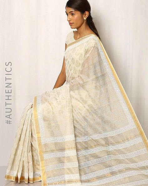 Maheshwari Saree With Khari Print By Indie Picks ( White )