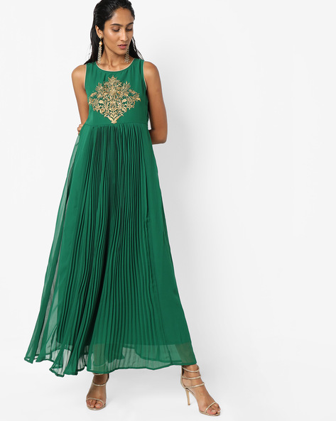 Embroidered Maxi Dress With Pleats By Trishaa By Pantaloons ( Green )