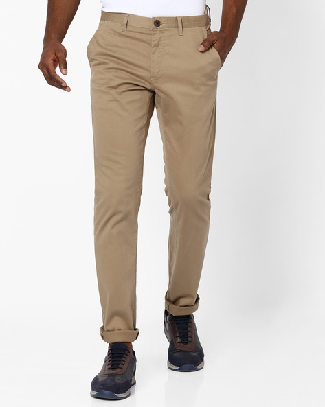 Mid-Rise Flat-Front Dobby Chinos By NETPLAY ( Khaki )