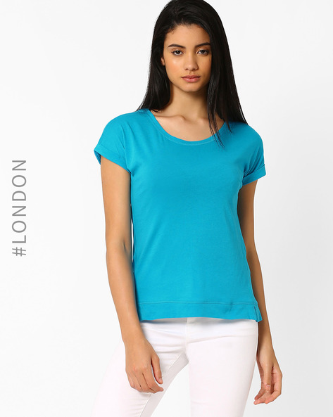 Cotton T-shirt With Upturned Hems By Marks & Spencer ( Turquoise )
