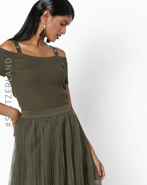 Strappy Cold-Shoulder Top By TALLY WEiJL ( Green )