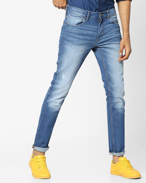 Mid-Washed Skinny Jeans With Distressing By VOI JEANS ( Darkblue )