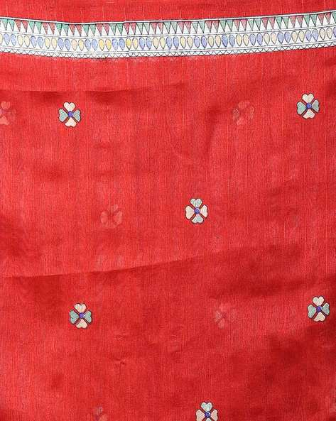 Printed Saree With Contrast Border By Hitansh ( Red )