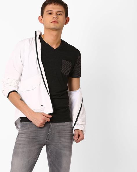 V-Neck T-shirt With Patch Pocket By Killer ( Grey )