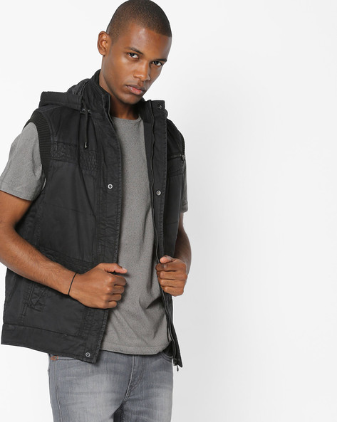 Sleeveless Quilted Jacket With Hood By Fort Collins ( Black )