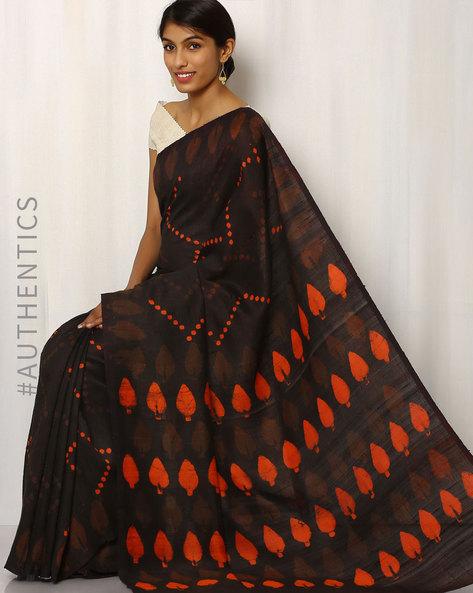 Hand Block Print Pure Silk Saree By Indie Picks ( Black ) - 460016531001