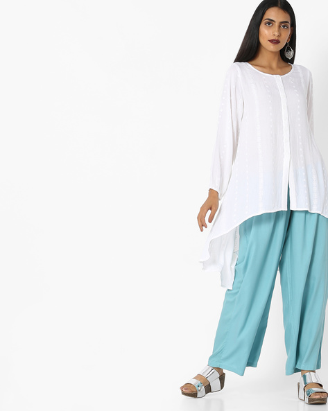 High-Low Tunic With Embroidery By AYAANY ( White )
