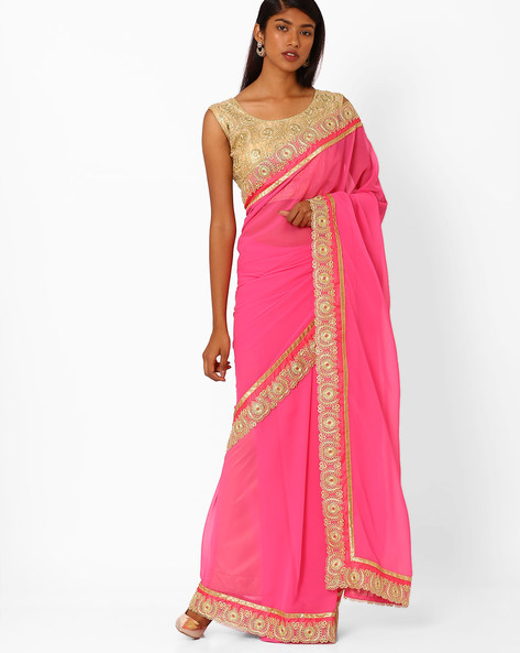 Saree With Contrast Lace Border By Amori ( Pink )
