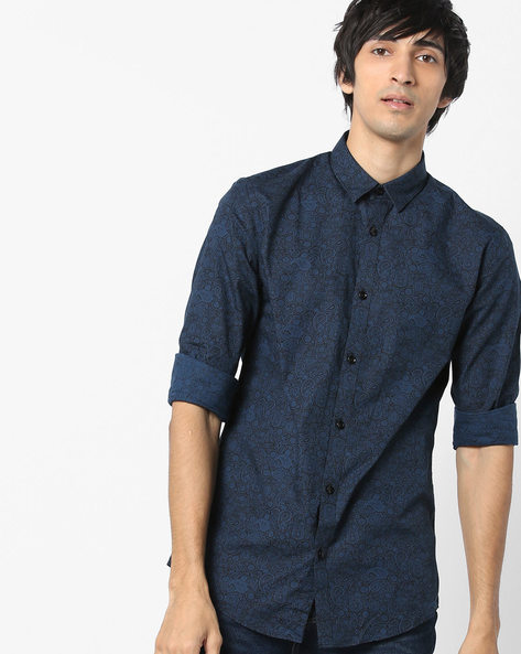 Paisley Print Shirt With Curved Hemline By Jack & Jones ( Blue )