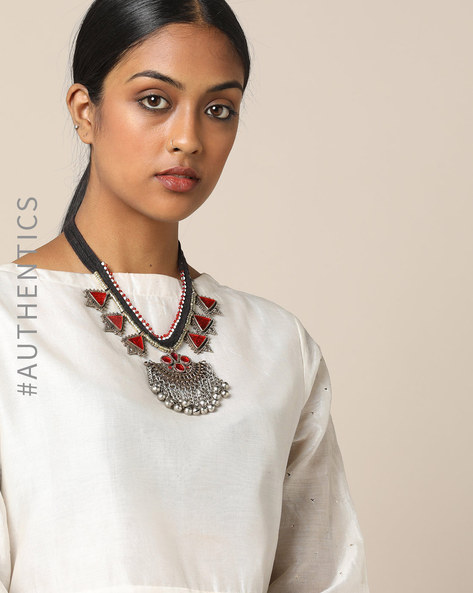 Afghan Tribal Glass Short Necklace By Indie Picks ( Red )