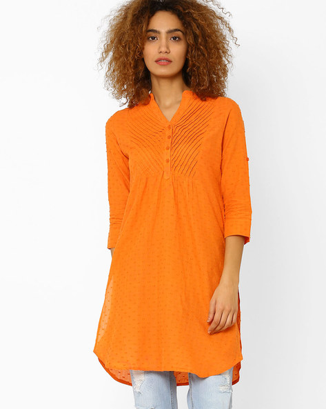 Straight Kurta With Button Placket By Juniper ( Orange )