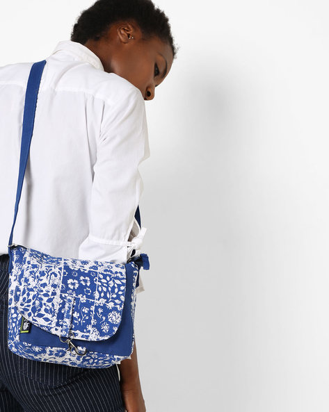 Printed Canvas Sling Bag By Kanvas Katha ( Blue )