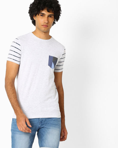 Slub Knit T-shirt With Patch Pocket By Killer ( Gray )
