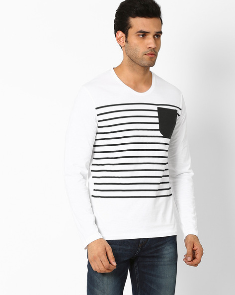 Striped Crew-Neck Slim T-shirt By VOI JEANS ( White )