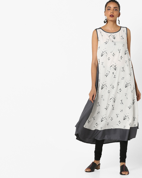 Colourblock Floral Printed Kurta By Project Eve IW Casual ( Offwhite )