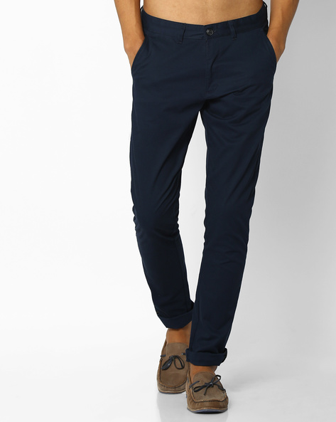 Mid-Rise Dobby Chinos By NETPLAY ( Navy )