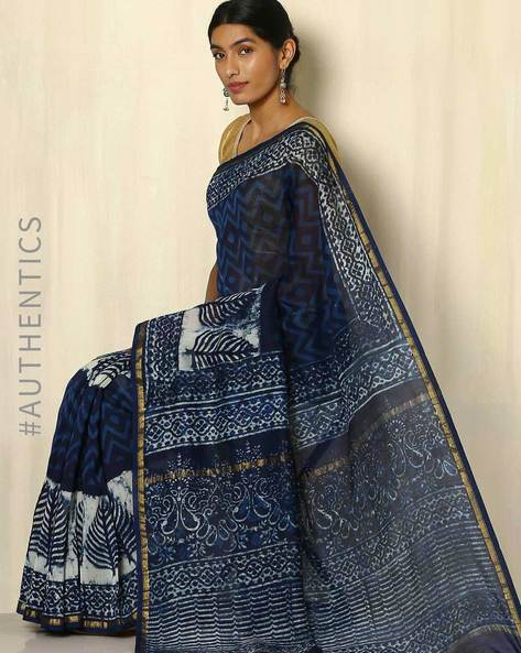 Handblock Print Indigo Chanderi Saree With Zari Border By Indie Picks ( Indigo ) - 460053732001